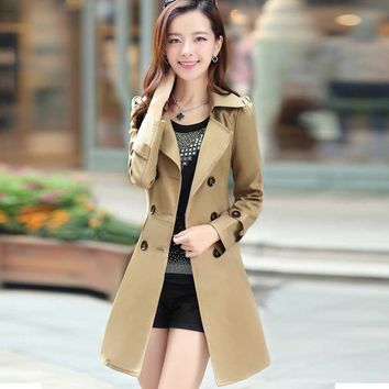 Women British Style Elegant Trench female Coat long slim Designer Double Breasted clothes solid Outerwear casual Xmas gift B032