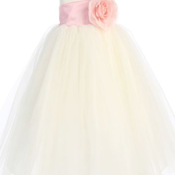 Ivory Polysilk Flower Girl Dress w. Ballerina Tulle Skirt & Custom Sash 6M-12Y