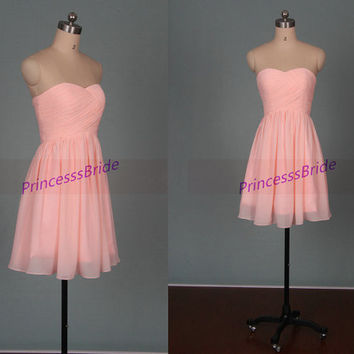 Short pearl pink chiffon bridesmaid dresses 2014,simple women dress for party,cheap sweetheart prom gowns,affordable bridesmaid gowns.