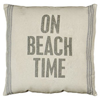 Primitives by Kathy On Beach Time 9-Stripe Pillow, 24-Inch by 24-Inch, Blue