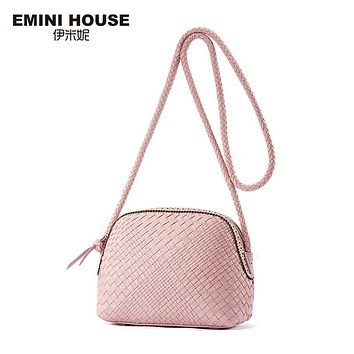 EMINI HOUSE Hand-Woven Genuine Leather Shell Bag Women Crossbody Bags Fashion Shoulder Bag Luxury Lady Messenger Bags