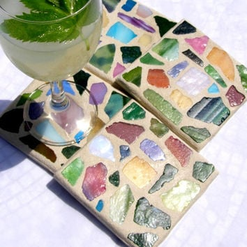 Tropical Colors Beach Glass Coasters / Beach Glass / Mosaic Coaster / Coastal Living / Beach Decor / Hostess Gift / Beach House
