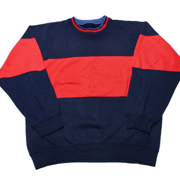 Vintage 90s Bold Stripe Navy/Red Crewneck Sweatshirt Mens Size Large