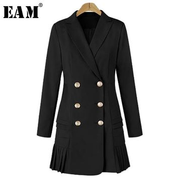 Trendy [EAM] 2018 New Autumn Lapel Long Sleeve Solid Color Black Double Row Buckle Loose Jacket Women Coat Fashion Tide JA9720 AT_94_13