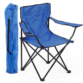 Large Portable Folding Chairs with Armrests and Cupholder