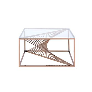 Acme Furniture Tralen Brushed Copper and Clear Glass Coffee Table-81005 - The Home Depot