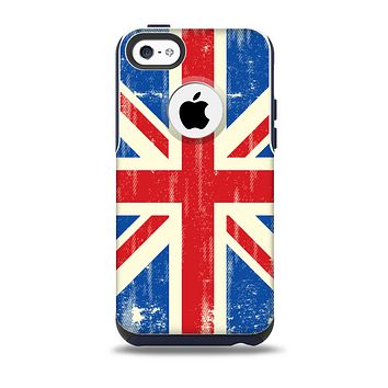 The Grunge Vintage Textured London England Flag Skin for the iPhone 5c OtterBox Commuter Case
