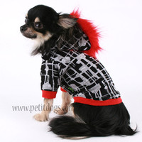 Dog clothes SMALL Red Mohawk Black and white by PetitDogApparel