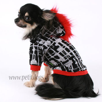 a73a7ed07787 Dog clothes SMALL Red Mohawk Black and white by PetitDogApparel
