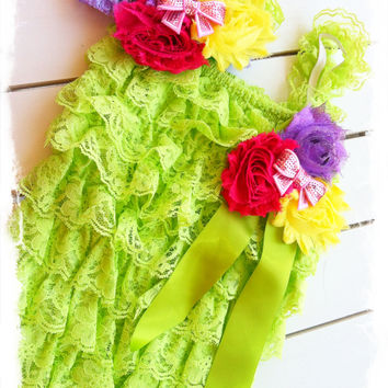 Lime Green Petti Lace Romper 3pc Set-Birthday Petti Lace Romper-Photo Props-SZ 6mo,12mo,18mo,24mo,3T,4T