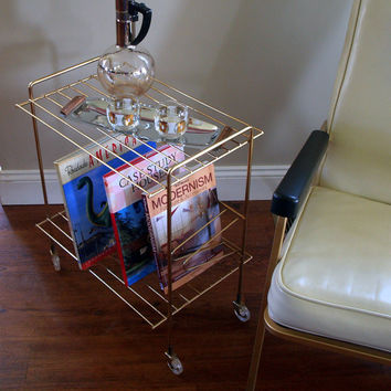 50s RETRO VINTAGE LP Record Stand Mid Century Modern Metal Wire Book Case Rack Cart Gold Finish and Rolling Lucite Wheels