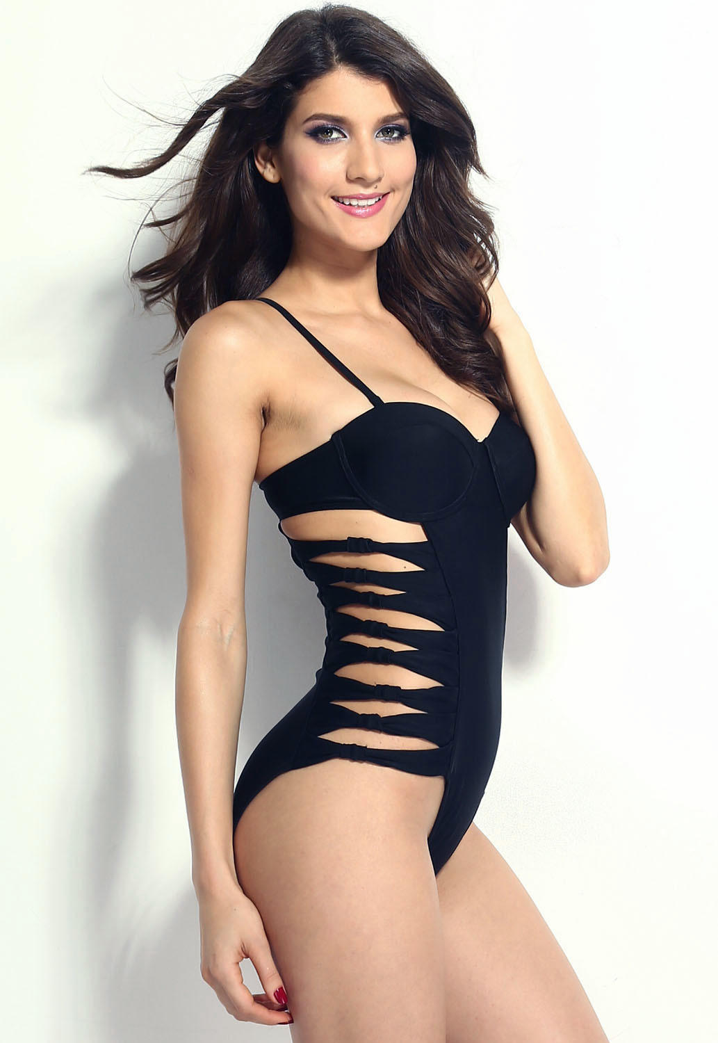 ac1bcbbf230e0 Black Push-up Cut-out One Piece Swimsuit
