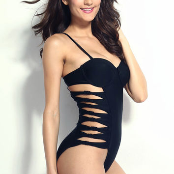 Black Push-up Cut-out One Piece Swimsuit