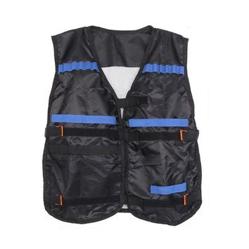 Top Tactical Vest For 12 Darts and 4 Ammo Clips In Nerf Elite N Strike Games Black