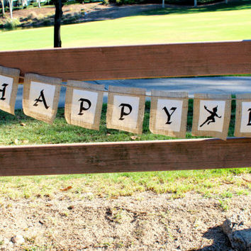 NEVERLAND Peter Pan Happy BIrthday burlap banner with muslin fabric  Birthday Party banner Jake and the Neverland Pirates party tinker bell