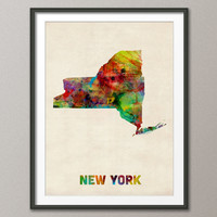 New York Watercolor Map USA, Art Print 18x24 inch (348)