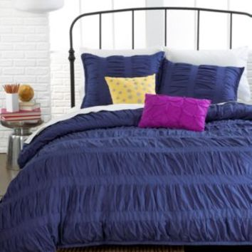 Ruched Stripes Navy 3 Piece Comforter and Duvet Cover Sets - Bed in a Bag - Bed & Bath - Macy's