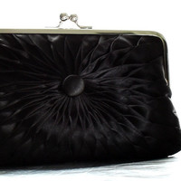 Black Satin Button Clutch - Size Large - Ready To Ship