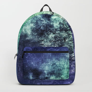 Deep Dark Blue Abyss Abstract #LostPainting Backpacks by Sheila Wenzel
