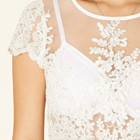 Semi-Sheer Lace Crop Top