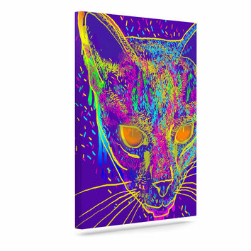 "Frederic Levy-Hadida ""Candy Cat Purple"" Rainbow Purple Canvas Art"