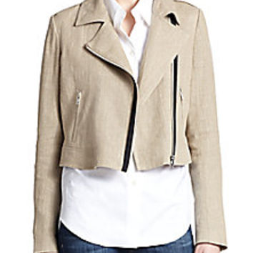 Theory - Sanda Linen Moto Jacket - Saks Fifth Avenue Mobile