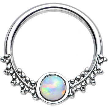 """14 Gauge 1/2"""" Synthetic White Opal Drops of Dew Captive Ring"""