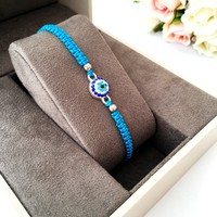 String Evil eye bracelet, blue string bracelet, evil eye jewelry, adjustable bracelet