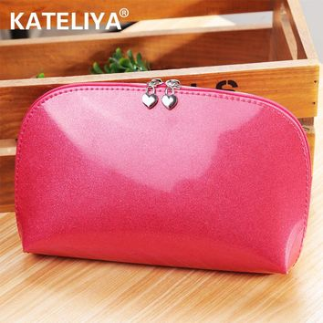 Travel On a business Trip Cosmetic Bag Candy pearl Color Leather women Makeup Make Up Wash Organizer Storage Bags