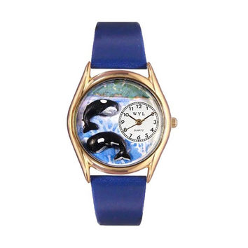 Whimsical Watches Healthcare Nurse Gift Accessories Whales Royal Blue Leather And Goldtone Watch
