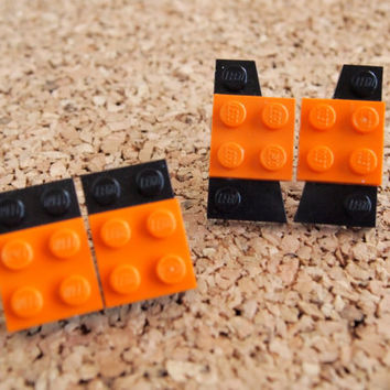 Unique Lego Studs- Black Orange Kids Toy Charm Stud Jewelry geekery halloween large post OOAK FREE shipping to United States