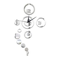 Acrylic Wall Clock Home Decoration Mirror Living Room   silver