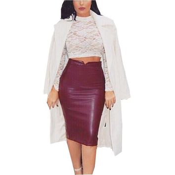 Zanzea 2017 Spring Women Comfortable PU Leather Skirt High Waist Pencil Skirts Vintage Bodycon Midi Skirt Sexy Clubwear Hot Sale
