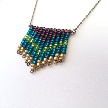 Chevron Peacock Necklace Beaded