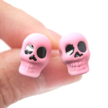 Skull Shaped Skeleton Themed Small Unisex Emo Stud Earrings in Light Purple