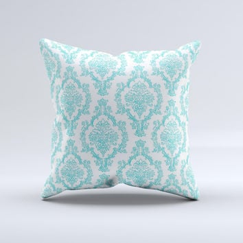 Fancy Laced Turquiose & White Pattern Ink-Fuzed Decorative Throw Pillow