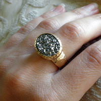 Silver Druzy Ring - 18k Yellow Gold Plated Oval Ring - Hammered Ring -Mother's Day Gift