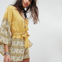 ebonie n ivory Tie Waist Playsuit with Kimono Sleeves In Paisley at asos.com