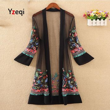 Trendy Yzeqi Women Floral Embroidered Long Jacket Summer Cardigan Casual Thin Coats Crochet Kimono Ladies Vintage Beach White Outerwear AT_94_13