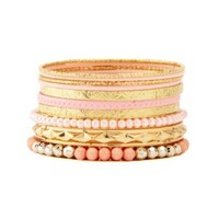 Etched & Beaded Stacking Bracelets - 10 Pack - Lt Pink