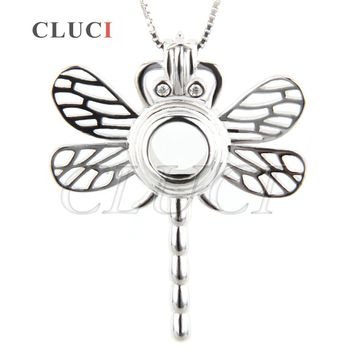 CLUCI women animal charms jewelry gift Dragonfly Locket Necklace Cage Pendant 925 Sterling Silver