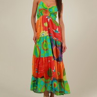 Aller Simplement 100 % Cotton Multicolor Ornament Print Long Dress - Aller Simplement Summer Apparel for Her - Modnique.com