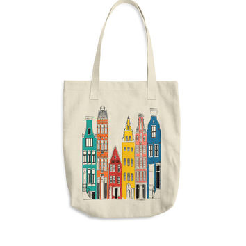 Amsterdam Cityscape Grocery Bag Farmers Market Tote City Illustration Travel Sketch Yoga Bag Travel Bag Library Bag Canvas Bag Architecture