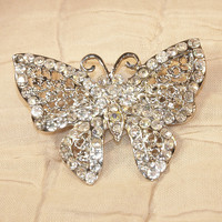 Vintage Aurora Borealis AB Butterfly Pin Brooch Silver Filigree