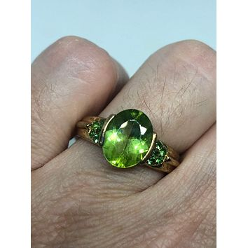 Vintage Handmade Genuine Green Peridot and Chrome Diopside Setting Golden 925 Sterling Silver Ring