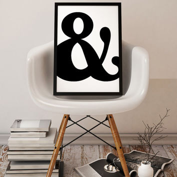 Ampersand Symbol Digital Art, Instant Download Print, Typographic Art, Printable Art, Gift Idea,  Home Decor Art, Scandinavian Style Art