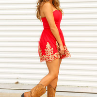 I've Got A Gypsy Soul To Blame Dress: Red/Gold