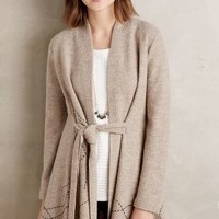 Rosie Neira Embroidered Boiled Wool Sweater Coat in Taupe Size: