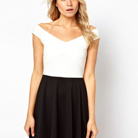 ASOS Off The Shoulder Skater Dress In Mono