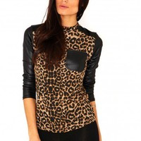 Missguided - Laela Leopard Leather Detail Top